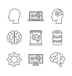 Artificial intelligence technology icons vector