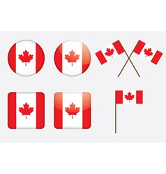 badges with Canadian flag vector image