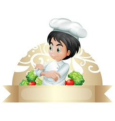 Banner and chef vector image
