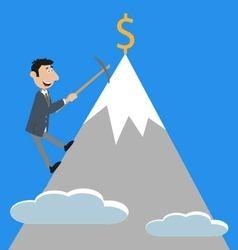 businessman climbs the mountain vector image vector image