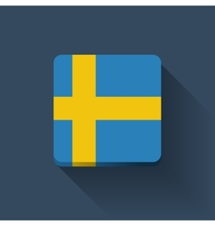 Button with flag of sweden vector