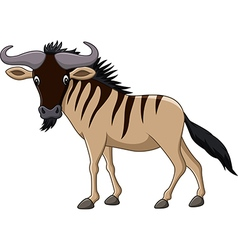 Cartoon wildebeest mascot isolated vector