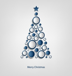Christmas card with tree of blue circles template vector