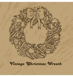 Christmas hand drawn wreath vector image vector image