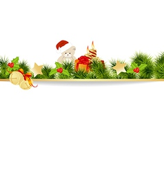 christmas pine frame vector image vector image