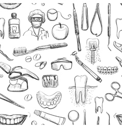 Dental seamless pattern vector image vector image