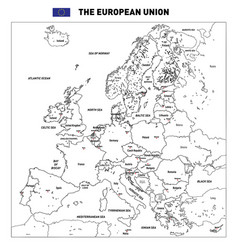 Detailed political map of the european union vector