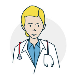 doctor standing with a stethoscope vector image vector image