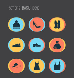 Dress icons set collection of sneakers beanie vector