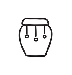 Drum instrument sketch icon vector