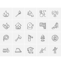 Fire sketch icon set vector