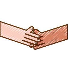 Grated humans shaking hands with fingers and nails vector