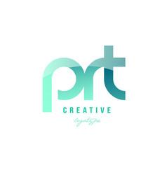 Green gradient pastel modern prt p r t alphabet vector