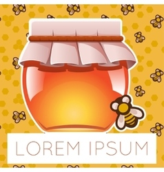 Honey and bee on background vector