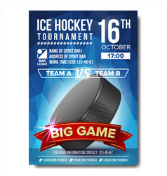 ice hockey poster ice hockey puck vector image vector image