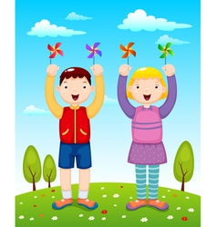 Kids playing wind wheel vector image vector image