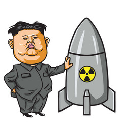 Kim joung-un with nuclear missile cartoon vector