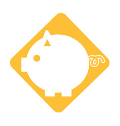 Label nice pig to save coin currency vector