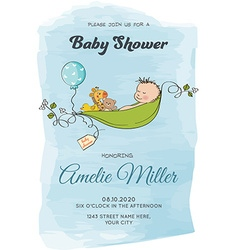 Lovely baby boy shower card vector image vector image