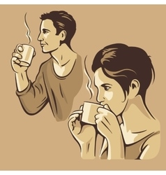Man and woman drinking coffee vintage vector