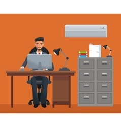 Man sitting workplace cabinet file desk laptop vector