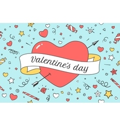 Old ribbon with message valentine day and red vector