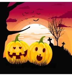 pumpkins in romantic full moon halloween night vector image vector image