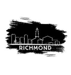 Richmond skyline silhouette hand drawn sketch vector