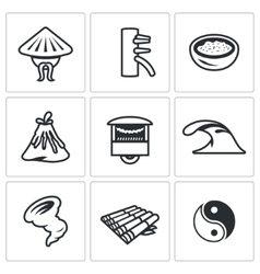 Set of Vietnam Icons Vietnamese Wing Chun vector image vector image