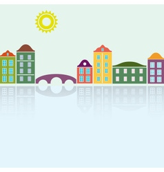simple colorful houses reflecting in the water vector image