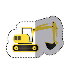 Sticker yellow backhoe with crane for construction vector