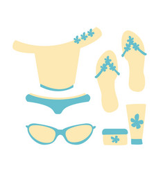 Swimsuit with beach accessories in white and blue vector