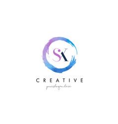Sx letter logo circular purple splash brush vector