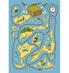 Treasure Island Map Maze Game vector image