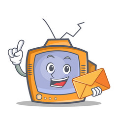Tv character cartoon object with envelope vector