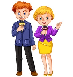 Two news reporters with microphones vector image