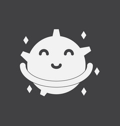 white icon on black background smiling satellite vector image vector image