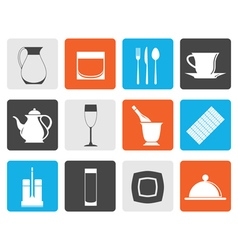 Flat restaurant cafe bar and night club icons vector