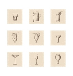 Grunge style drinks icons set vector