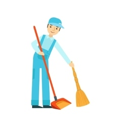 Man with broom and duster sweeping the floor vector
