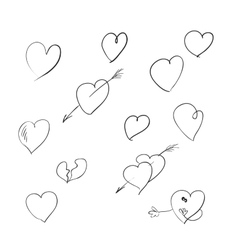 a set of sketches of the heart symbol vector image