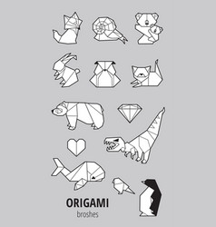 set of origami with animals vector image