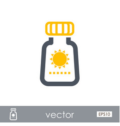 Sunscreen outline icon summer vacation vector