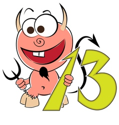 Cheerful devil with the number thirteen vector