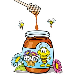 Honey jar with wooden vector