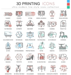 3d printing color line outline icons for vector image vector image