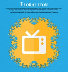 Retro tv floral flat design on a blue abstract vector