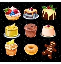Set of 9 desserts icons on a black background vector