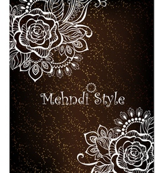 Rose painted white henna vector