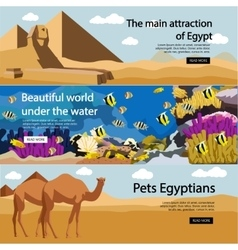 Travel to egypt banner set tourist vector